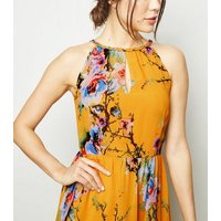 Blue Vanilla Orange Floral Halterneck Maxi Dress New Look