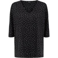 Black Spot Print Soft Touch Top New Look