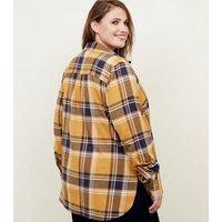 Yellow Check Print Longline Shirt New Look