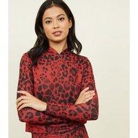 Carpe Diem Red Leopard Print Hoodie New Look