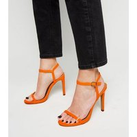 Orange Neon Patent Barely There Stiletto Sandals New Look