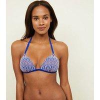 Blue Zig Zag Crochet Triangle Bikini Top New Look
