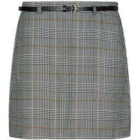 Curves Black Check Belted Mini Skirt New Look