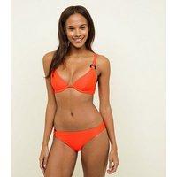 Orange Neon Slinky Resin Ring Bikini Top New Look