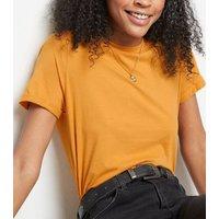 Bright Orange Roll Sleeve T-Shirt New Look