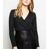 Petite Black Ribbed Long Sleeve Bodysuit New Look