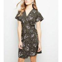 Petite Khaki Floral Wrap Mini Dress New Look