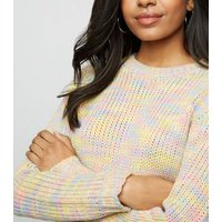 Petite Multicoloured Neon Space Dye Jumper New Look
