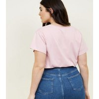 Curves Pale Pink Merci Sequin Slogan T-Shirt New Look