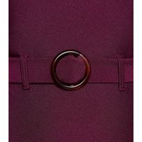 Burgundy Belted Swimsuit New Look