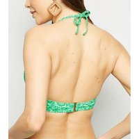 Green Ditsy Floral Longline Triangle Bikini Top New Look