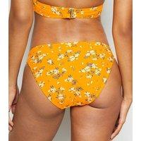 Yellow Ditsy Floral Bikini Bottoms New Look