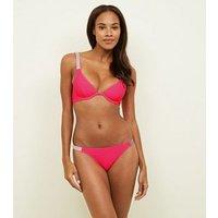 Bright Pink Neon Diamanté Bikini Bottoms New Look