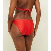 Red Slinky Chain Strap Bikini Bottoms New Look