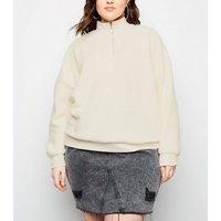 Curves Off White Borg Ring Zip Sweatshirt New Look