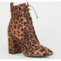 Brown Leopard Print Pointed Block Heel Lace Up Boots New Look