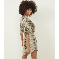 Blue Vanilla Brown Snake Skin Button Up Dress New Look