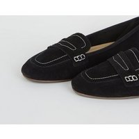 Black Suede Contrast Stitch Loafers New Look