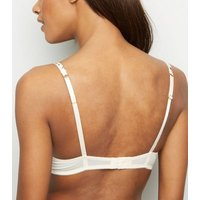 Off White Floral Satin Push-Up Bra New Look
