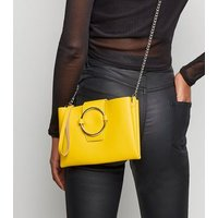 Yellow Leather-Look Ring Front Shoulder Bag New Look