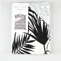 Monochrome Palm Print Cotton Double Duvet Set New Look
