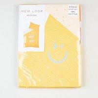 Yellow Flecked Happy Slogan Cotton Single Duvet Set New Look