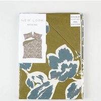 Khaki Floral and Spot Cotton Double Duvet Set New Look