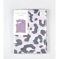 Lilac Leopard Print Cotton Double Duvet Set New Look