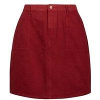 Curves Burgundy Denim Utility Skirt New Look
