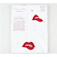 Red Ooh La La Lips Cotton Double Duvet Set New Look