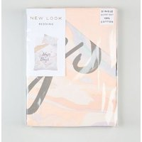 Pink Naps Marble Print Cotton Single Duvet Set New Look