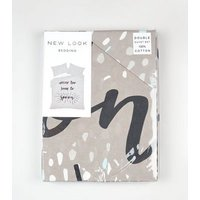 Dark Grey Spoon Slogan Cotton Double Duvet Set New Look