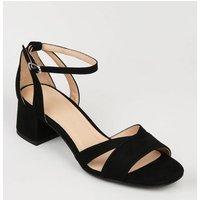 Girls Black Suedette Low Block Heeled Sandals New Look