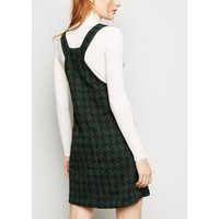 Green Houndstooth Button Front Pinafore Dress New Look