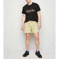Pale Yellow Drawstring Shorts New Look