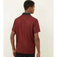 Burgundy Contrast Collared Shirt New Look