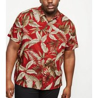 Plus Size Red Leaf Print Revere Collar Shirt New Look