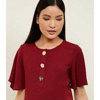 Burgundy Flutter Sleeve Button Up Top New Look