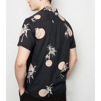 Mens Dark Grey Sun Palm Print Revere Collar Shirt New Look