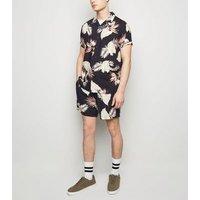 Men's Black Leaf Print Tie Waist Shorts New Look