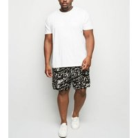 Plus Size Black Scribble Print Shorts New Look