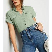 Mint Green Pocket Front Short Sleeve Shirt New Look