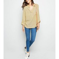 Mustard Stripe Pocket Front Overhead Shirt New Look