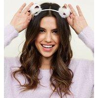 White Pom Pom Cat Headband New Look
