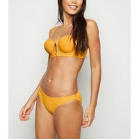Yellow Ribbed Hipster Bikini Bottoms New Look
