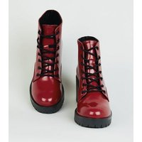 Dark Red Patent Chunky Lace-Up Boots New Look