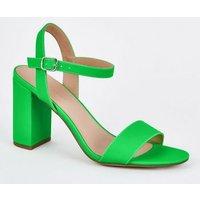 Green Neon Patent Two Part Block Heels New Look