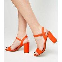 Bright Orange Neon Two Part Block Heels New Look