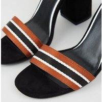 Black Stripe Strap Block Heel Sandals New Look