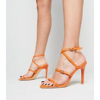 Orange Strappy Square Stiletto Heels New Look